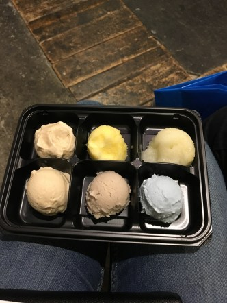 From left to right: Roasted green tea, apple sorbet, some sort of citrus, maple, banana milk, and blue sea salt.