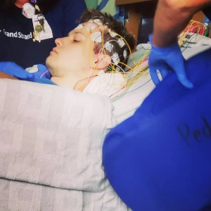 EEG for Gage's seizure during our summer vacation to Myrtle Beach