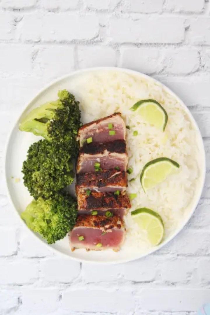 Pan seared tuna steaks with blackened seasoning