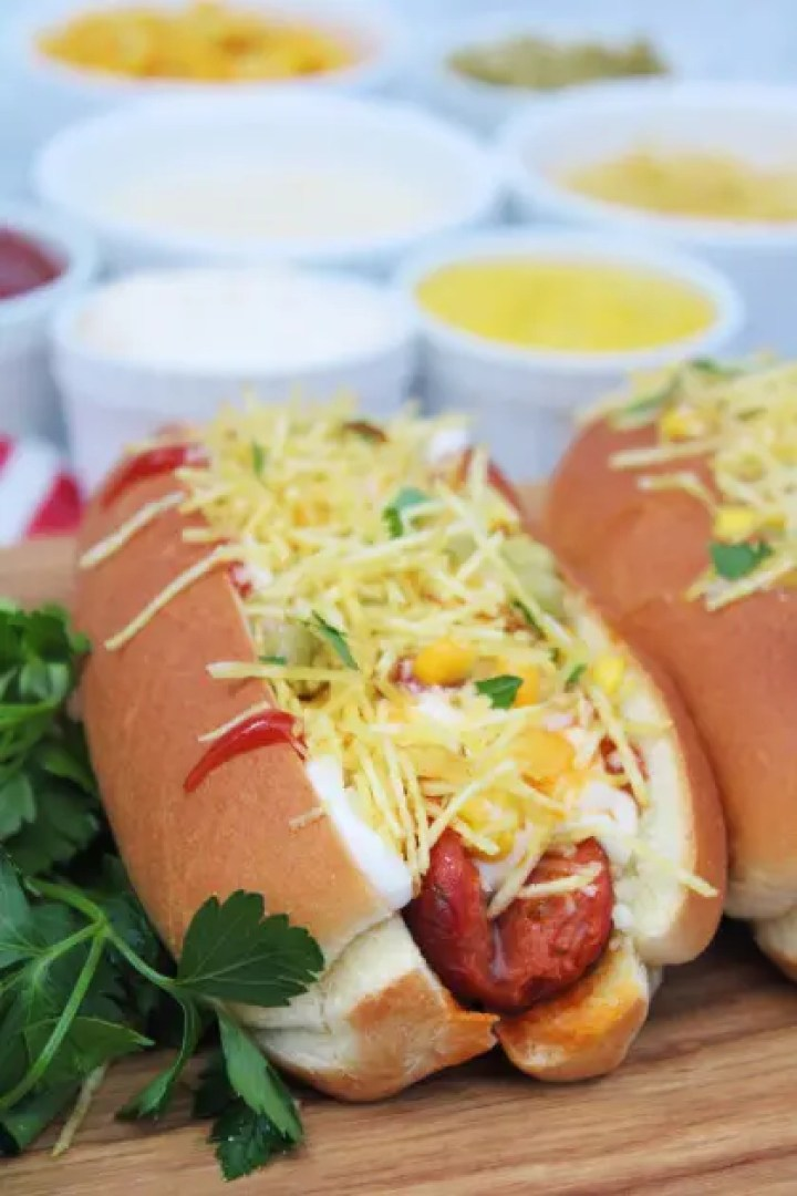 The best Brazilian hot dogs with tomato sauce