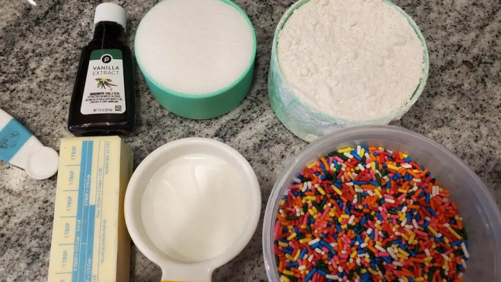 Ingredients for the raw cookie dough recipe
