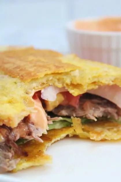 The inside of a jibarito sandwich.