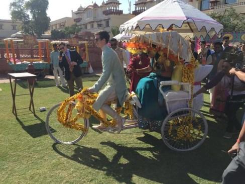 Groom and bride at Mehendi