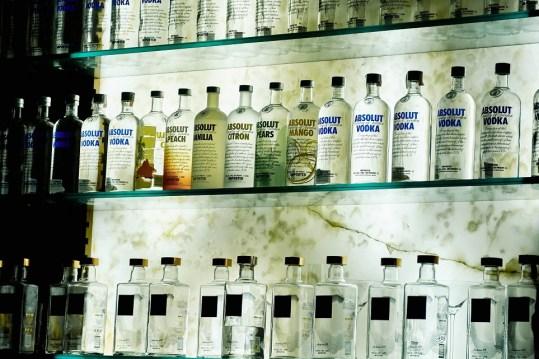 bottles absolut vodka shelf