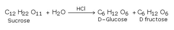 simple reaction scheme HCL sucrose glucose fructose