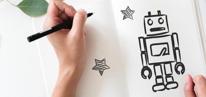 left handed hand robot pen draw