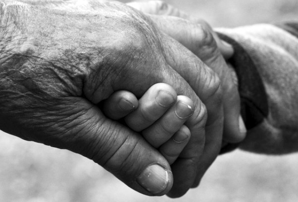 black white image of old and young hands