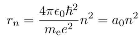 allowed radii of electron in bohr radius atomic model