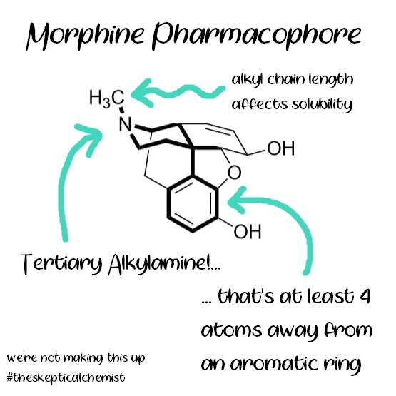 morphine pharmacophore showing alkylamine 4 atoms away from aromatic ring chemical structure