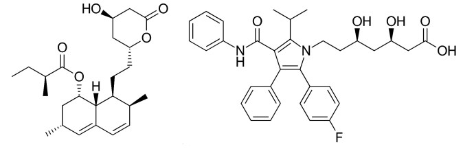 chemical structure comparison between lovastatin and atorvastatin