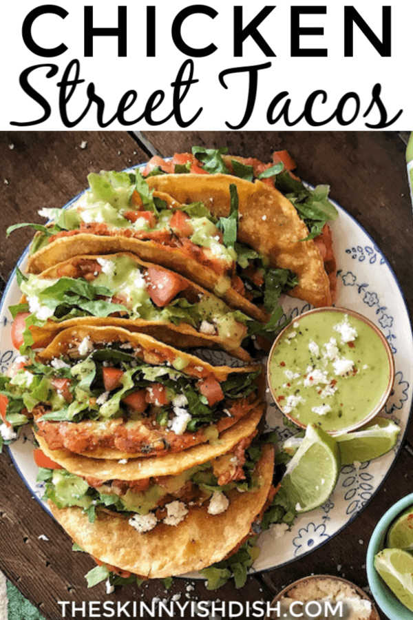 No need to have a food truck around to get the yumminess of Chicken Street Tacos for your dinner. These easy shredded chicken tacos are a great meal when you're craving Mexican! Simple and healthy served up on corn tortillas, these are a real winner! #chicken #streettacos #ww