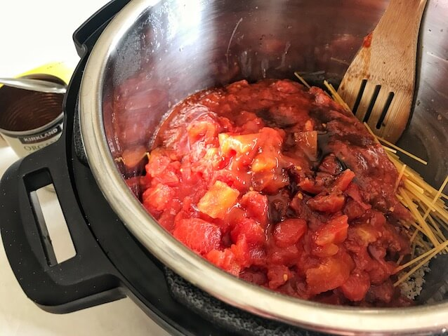 diced tomatoes and marinara in Instant Pot