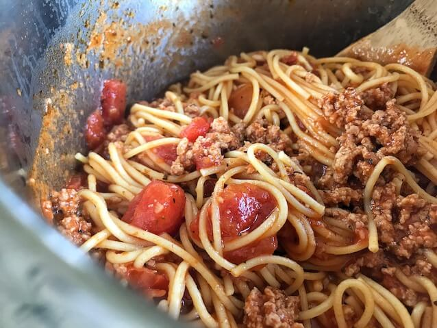 Instant Pot Spaghetti after being cooked and stirred very well