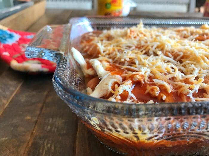 Chicken Tamale Bake before going into the oven