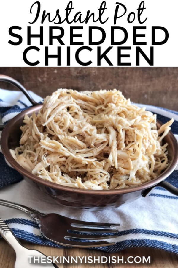 This Instant Pot Shredded Chicken is the BEST. I can barely keep my hands out of the bowl after it's been shredded. The chicken comes out incredibly tender, perfectly seasoned, and it couldn't be easier to prepare! Freezer friendly and just perfect to add to salads, soups, and recipes that call for cooked shredded chicken! #instantpot #shreddedchicken #ww