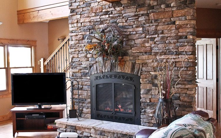Get The Warmth of Charming Stacked Stone Fireplace Design in Your Living Room 6