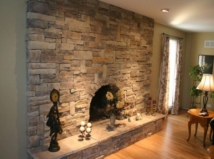 Get The Warmth of Charming Stacked Stone Fireplace Design in Your Living Room 3