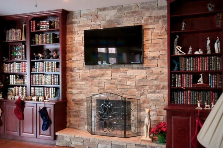 Get The Warmth of Charming Stacked Stone Fireplace Design in Your Living Room 9