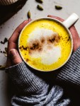 Turmeric latte in a cup
