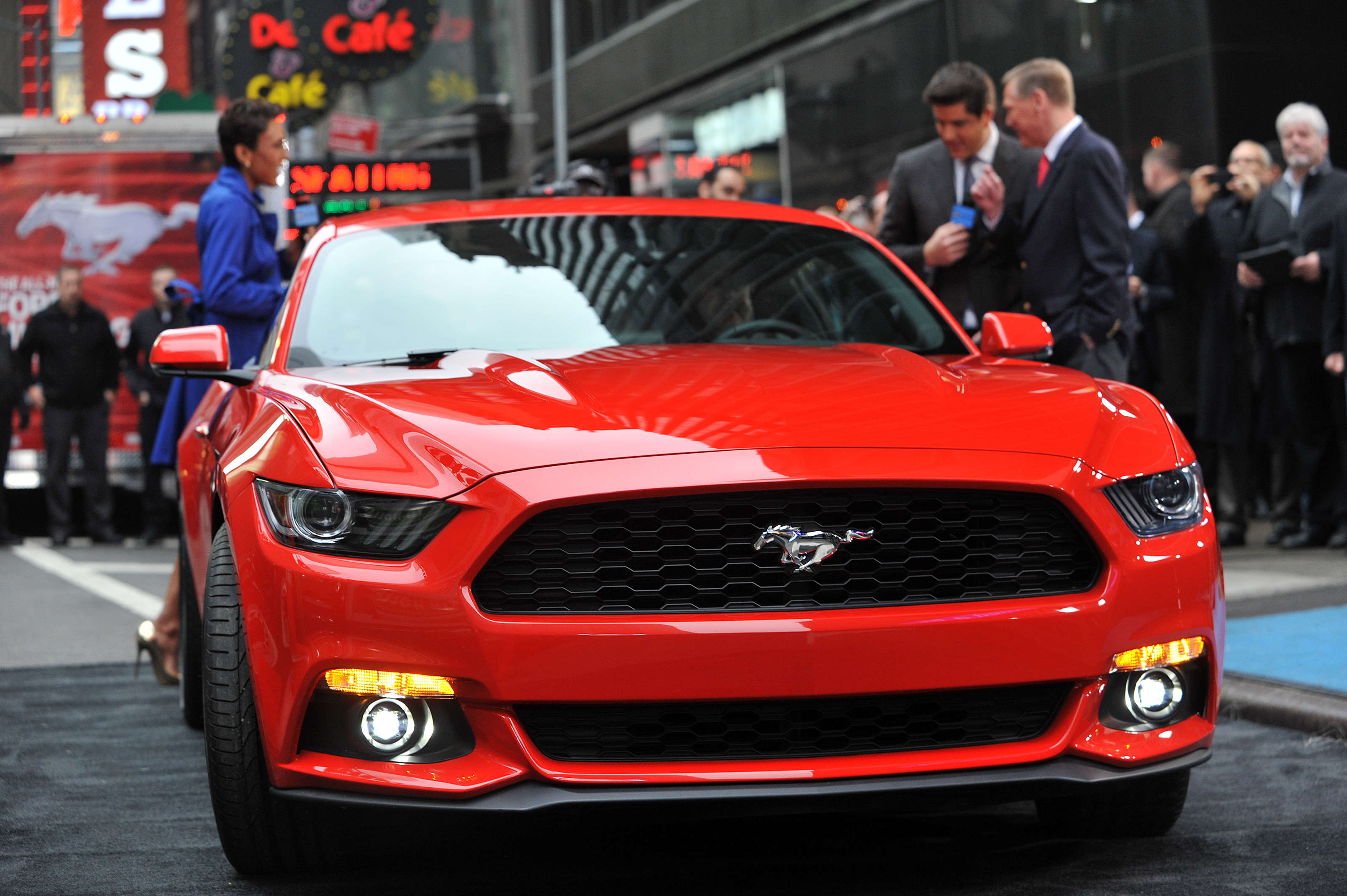 The all-new Ford Mustang is revealed in Times Square, New York,