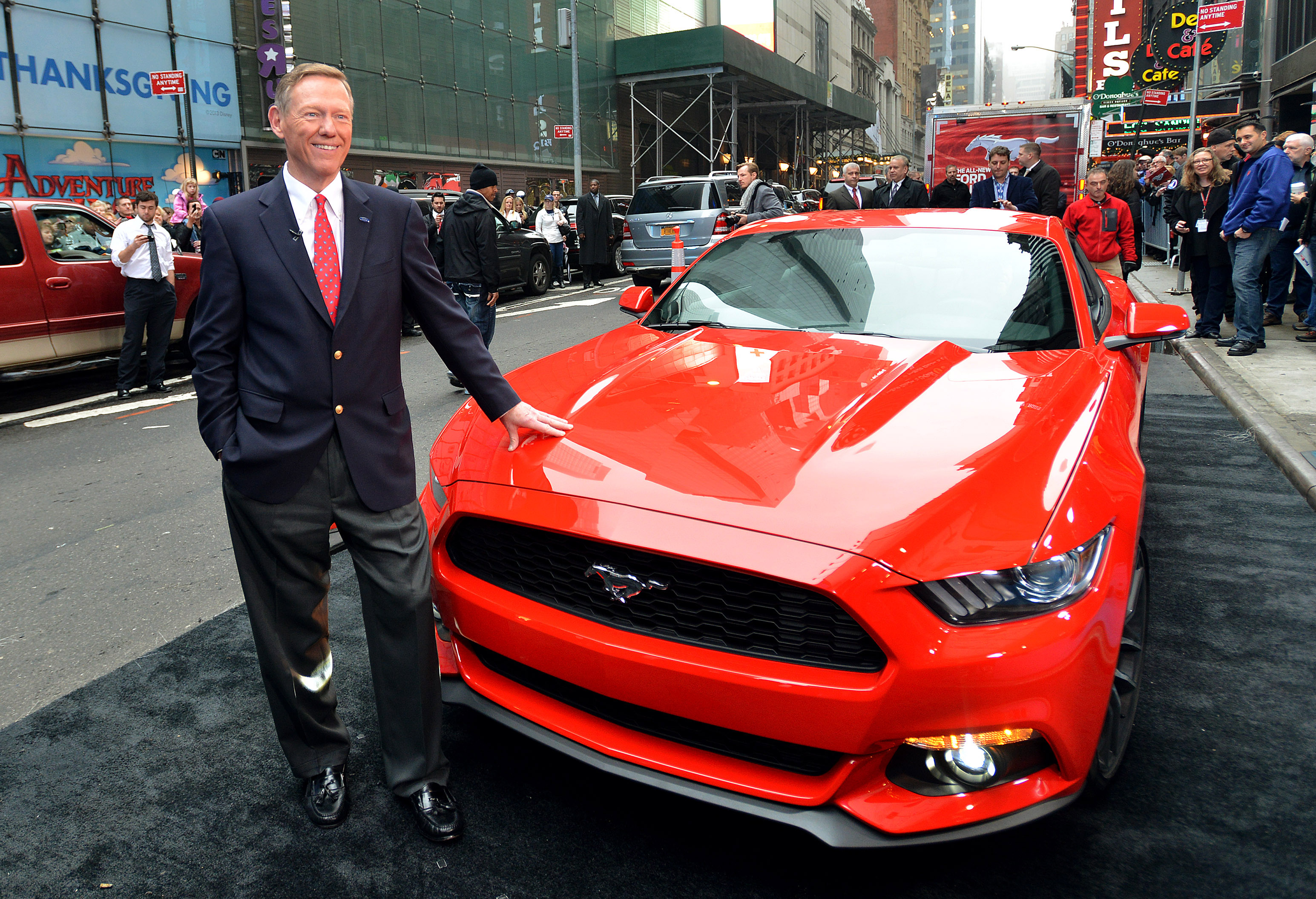 Ford CEO Alan Mulally presents the all-new Ford Mustang in Times