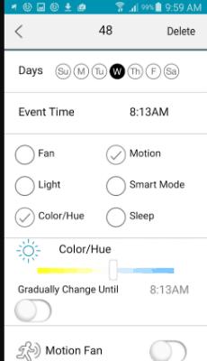 haiku home app showing scheduling options