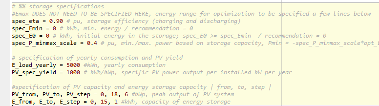 Python screenshot of the parameter definition for the energy storage