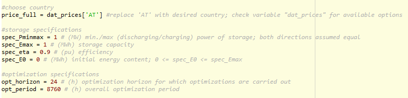 Screenshot of the input parameters in the Python script for day-ahead energy arbitrage analysis