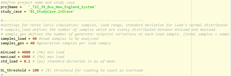 Screenshot of the input parameters for the advanced bottleneck analysis using Monte Carlo simulations