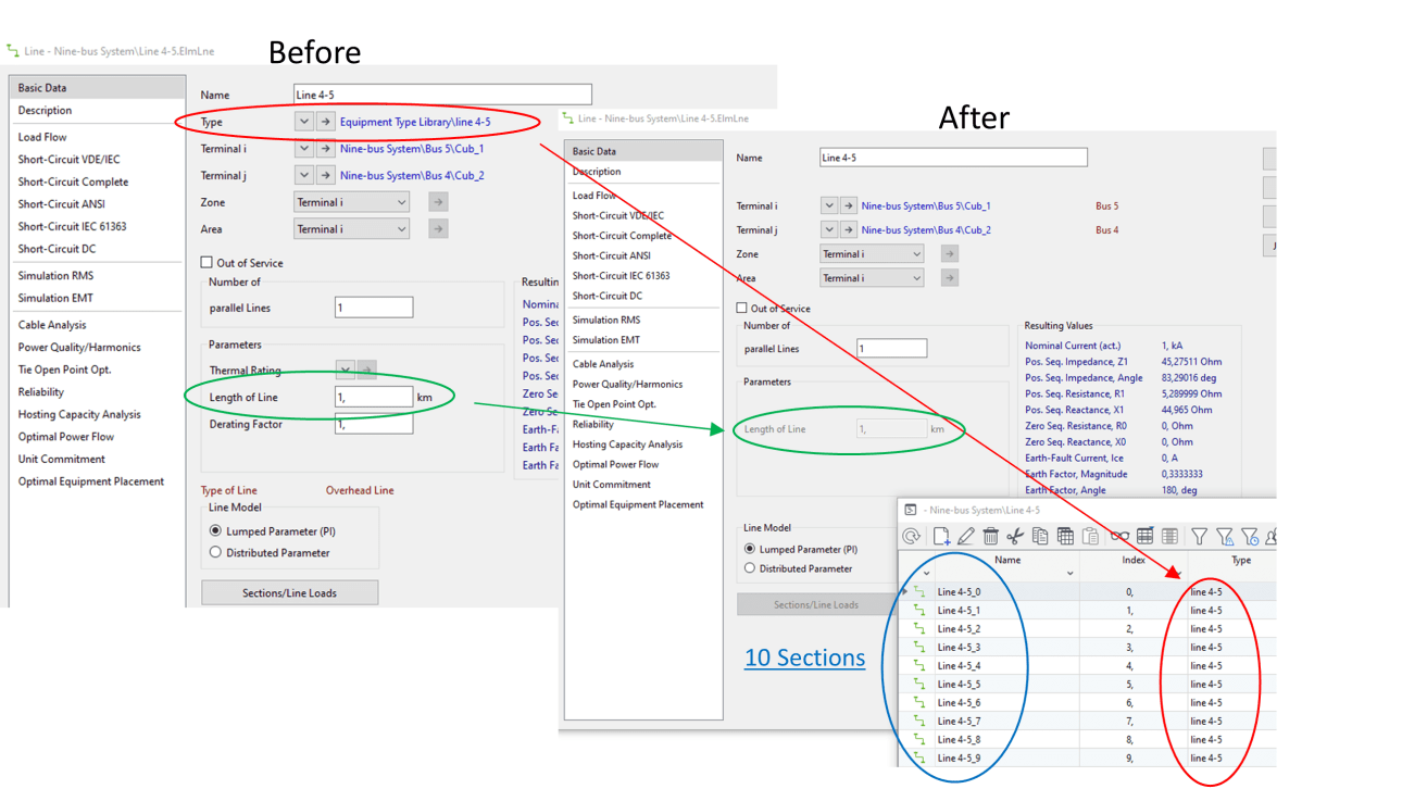 Screenshot of the line before and after running the script split lines into sections  DIgSILENT PowerFactory