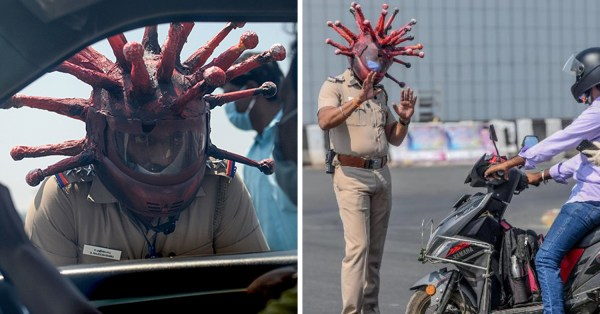 "Indian Police Officer Wears ""Coronavirus Helmet"" To Scare Citizens Refusing To Self-Quarantine"