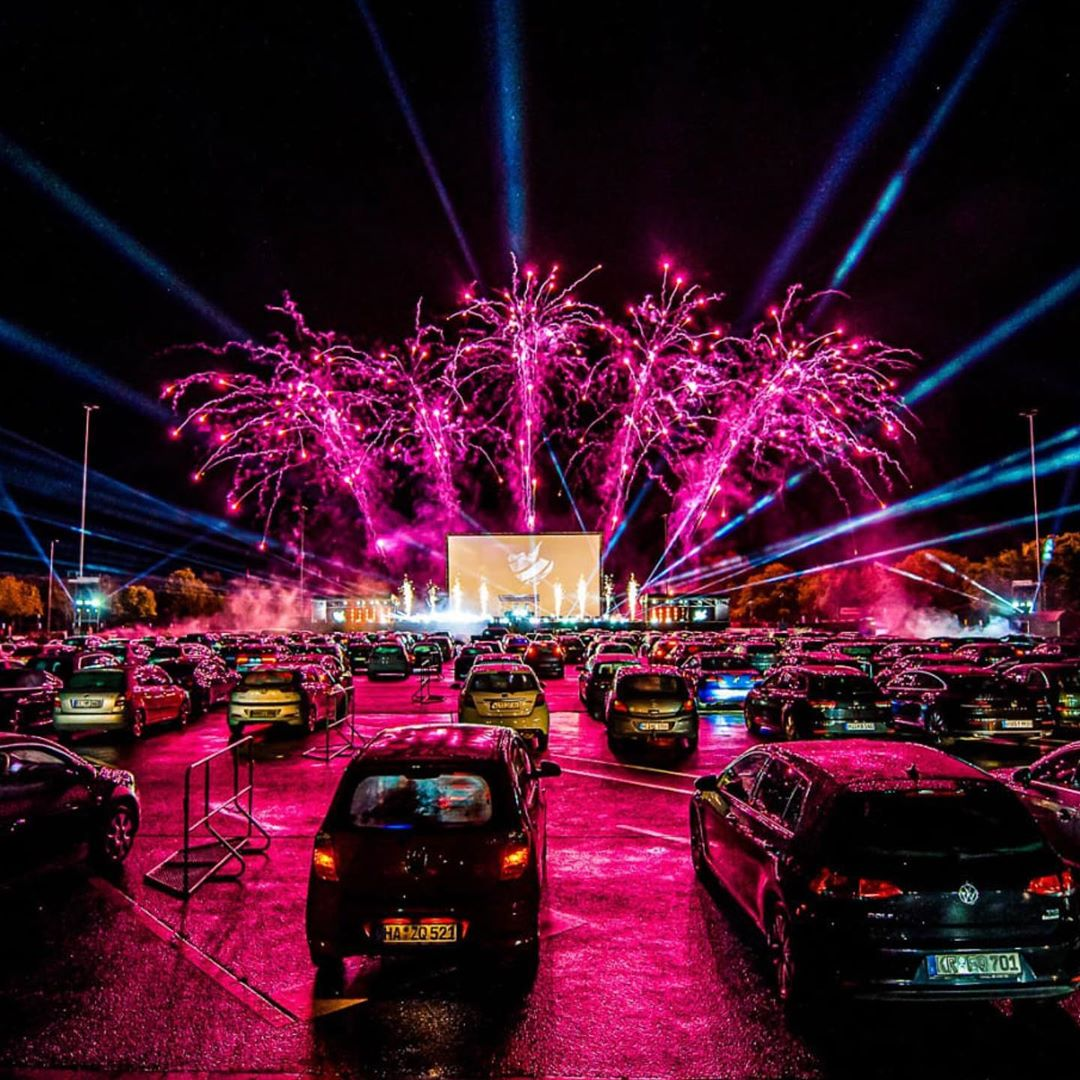 German Drive-In Party with live DJs and fireworks