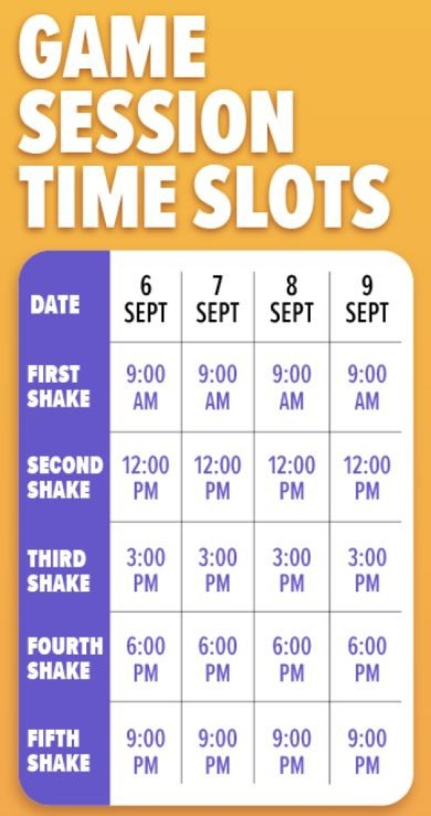 Lazada 9/9 sale game session timetable