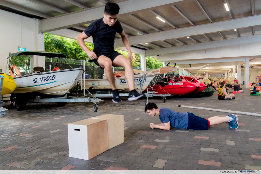 jumping over box