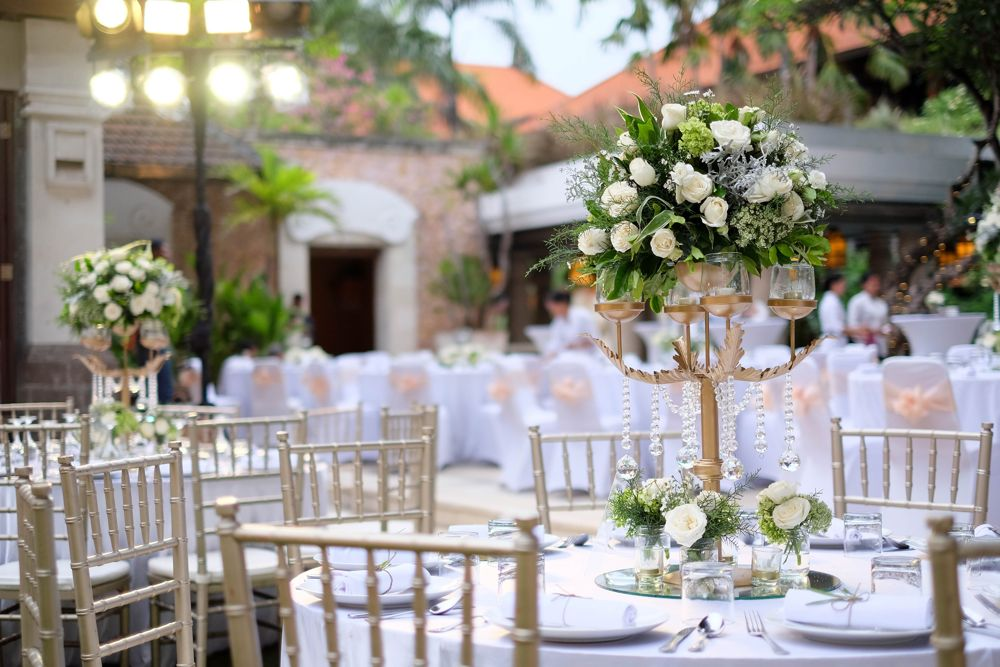 Puri Santrian garden reception setup