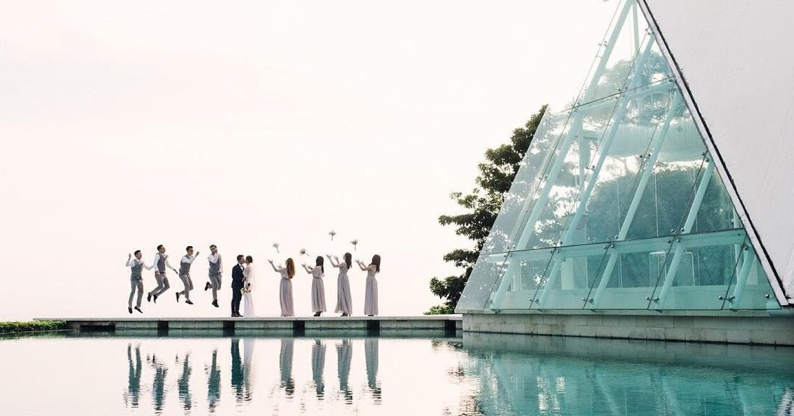 Wedding at Tirtha Bridal glass chapel