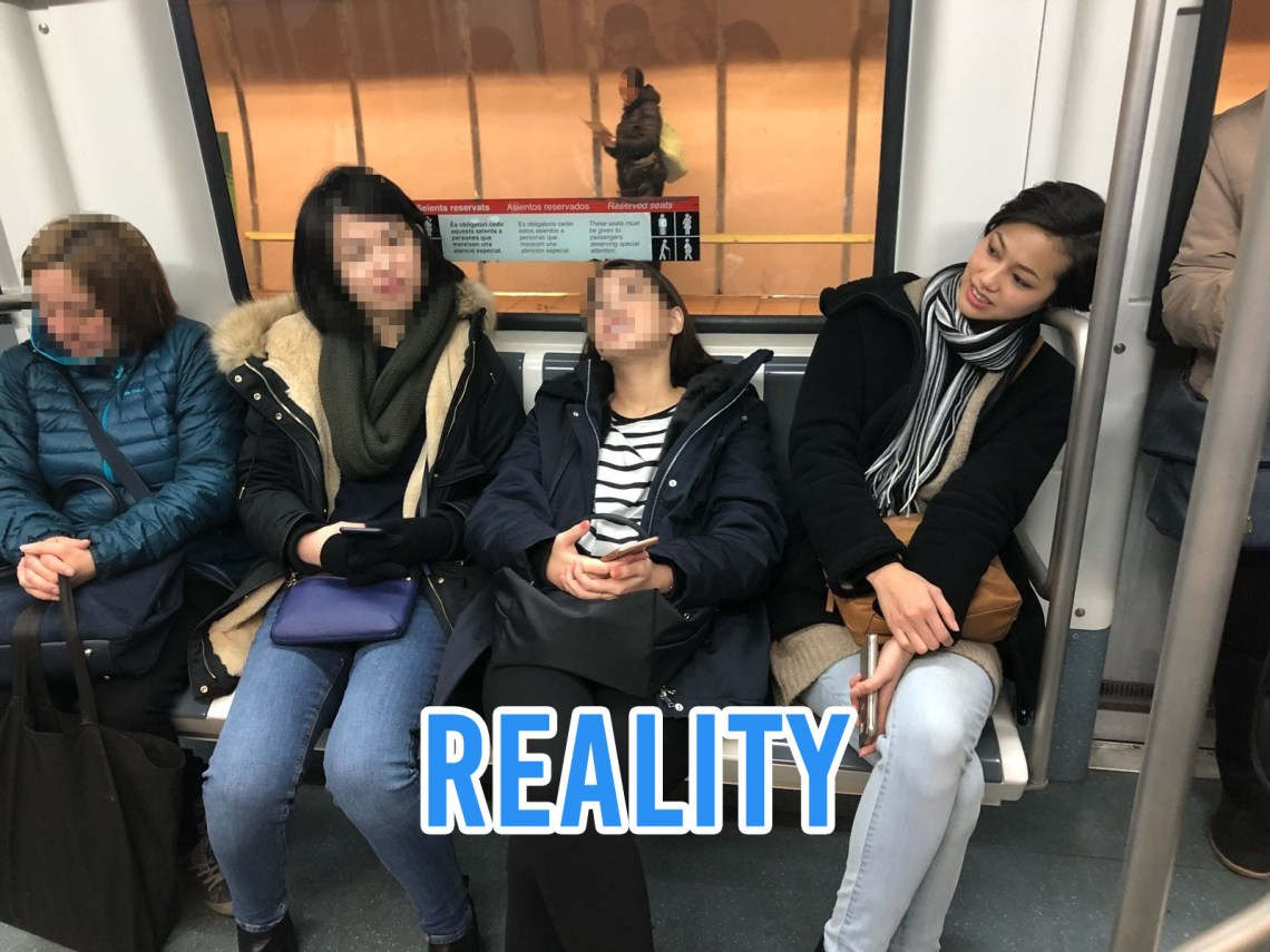 Tired people on a train