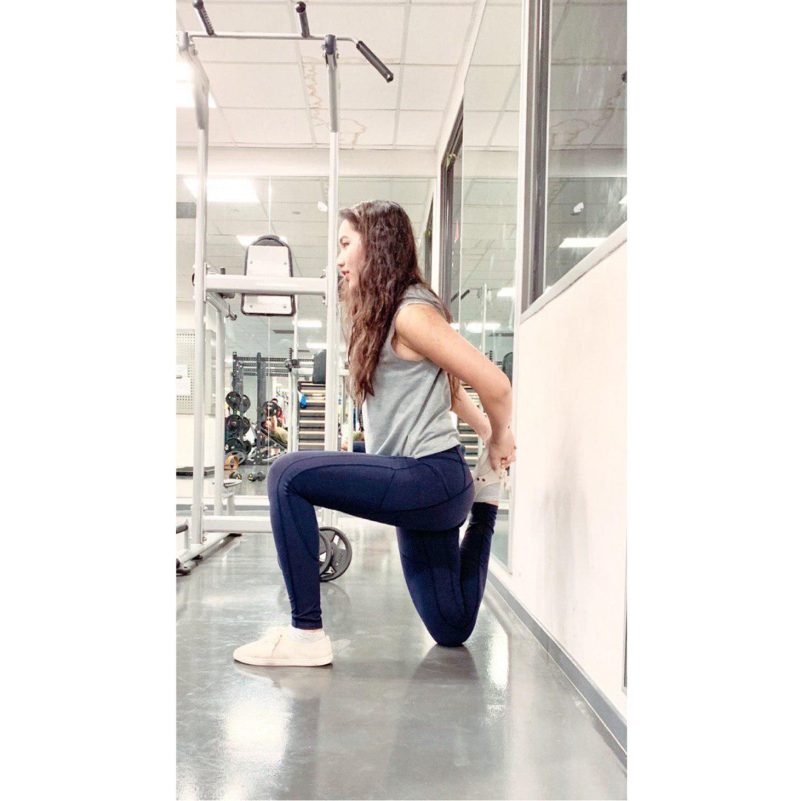 Stretching at the gym