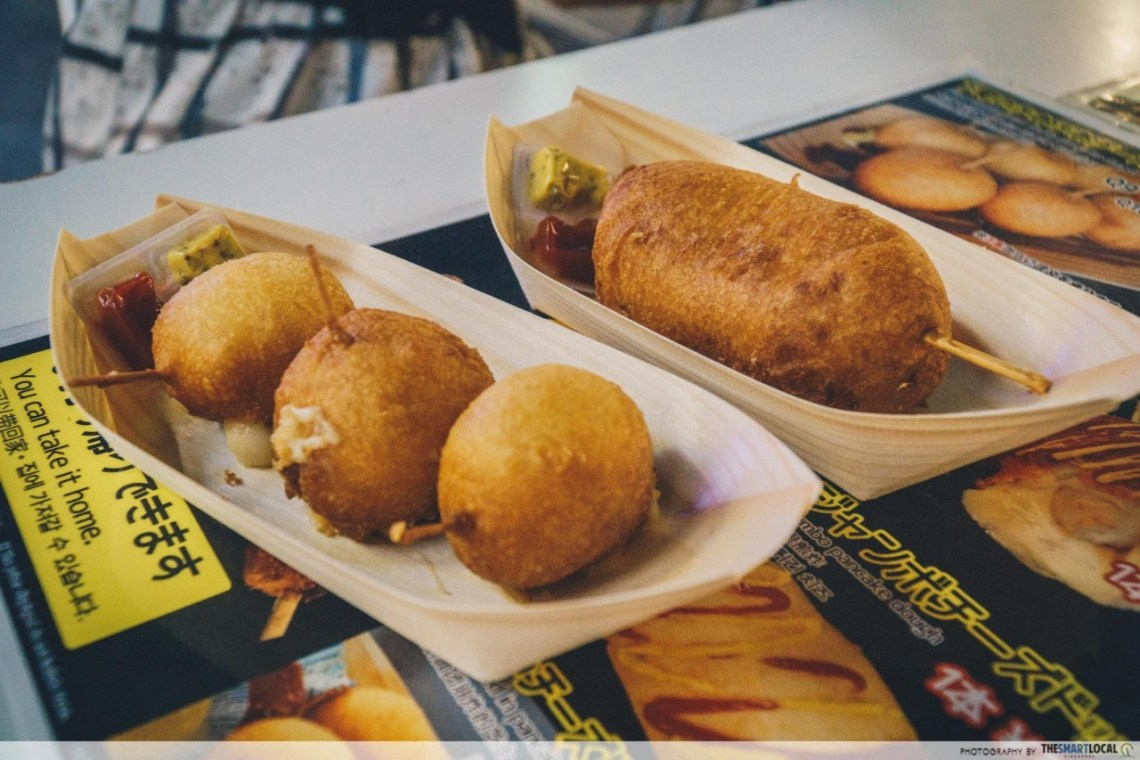 Mitarashi Dumpling and Cheese skewer Shitamachi-no-Tokeidai Dotonbori Osaka