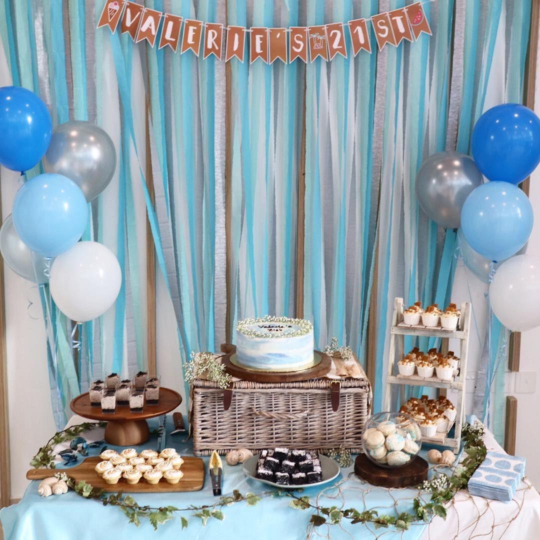 blue dessert table