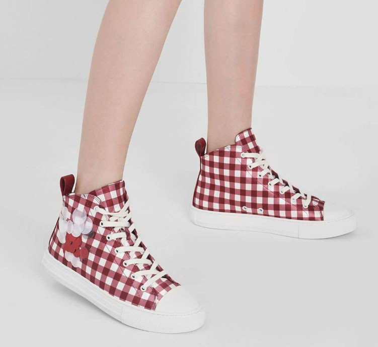 check print sequin high top sneakers