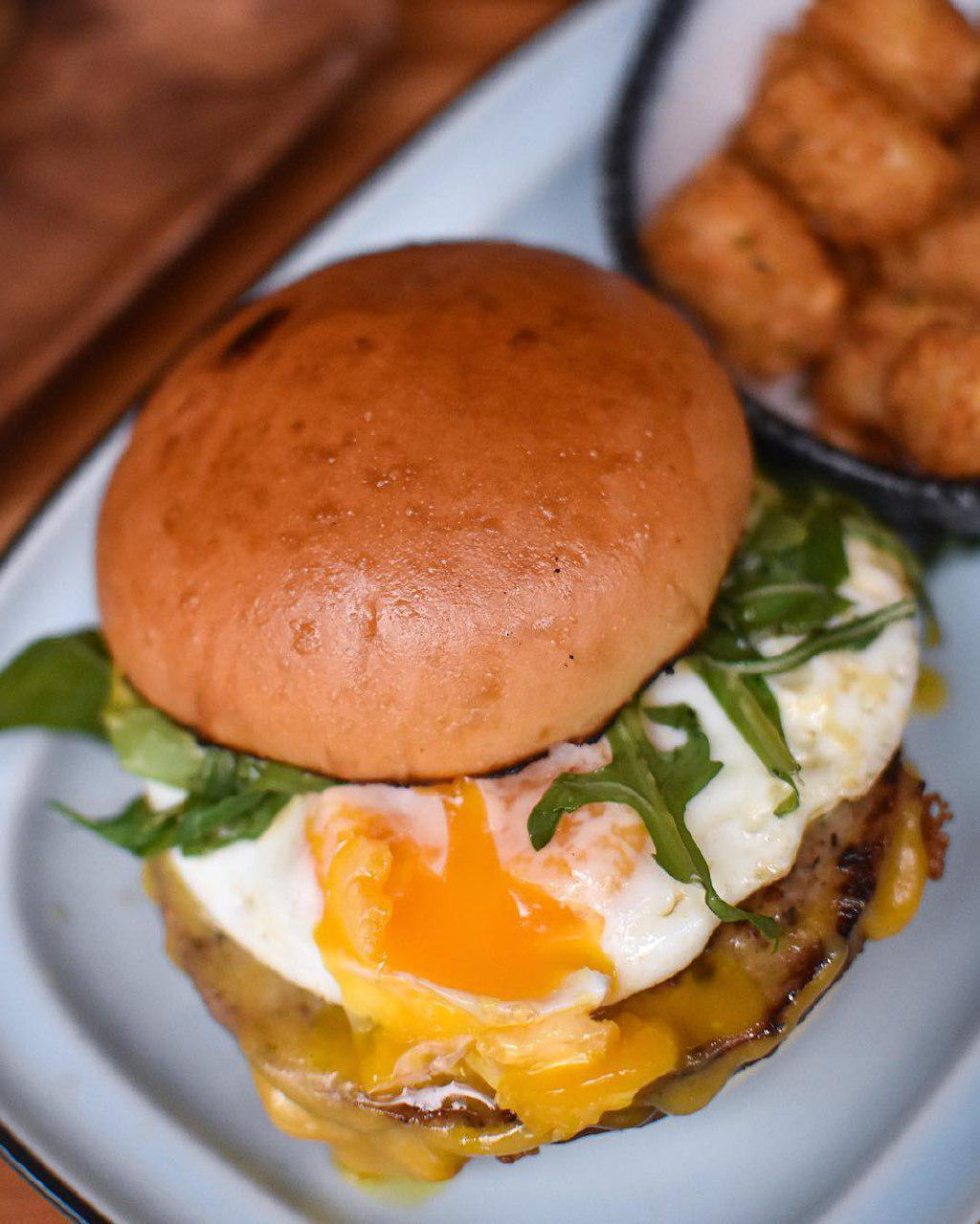 Burger with egg at Three Buns Quayside