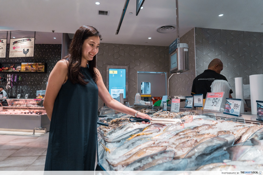 FairPrice Xtra and Unity VivoCity - seafood selection for grill on demand