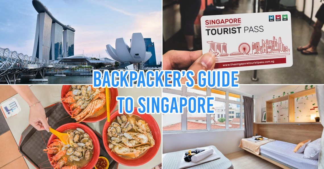 backpacking in singapore - collage of marina bay sands, tourist pass, hawker food and hostel