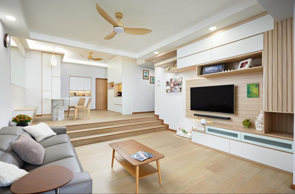hdb renovation - floor to ceiling shelves in living room