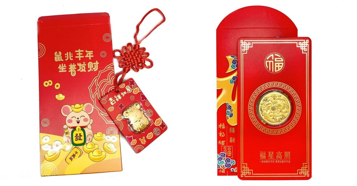 Kin Jewellery gold bar red packet