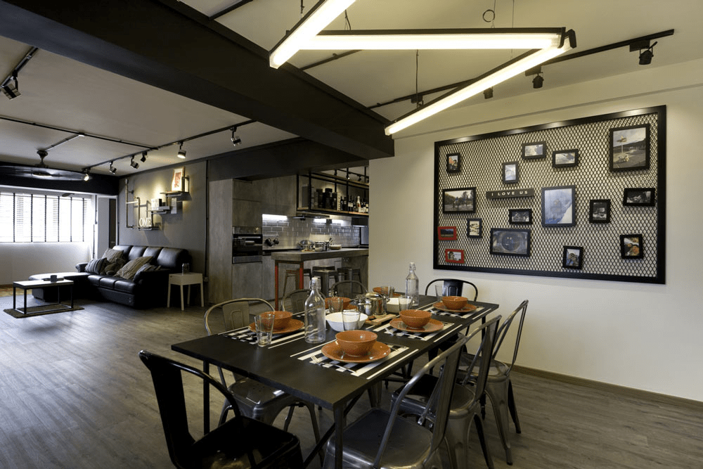 HDB renovation idea for Industrial dining room