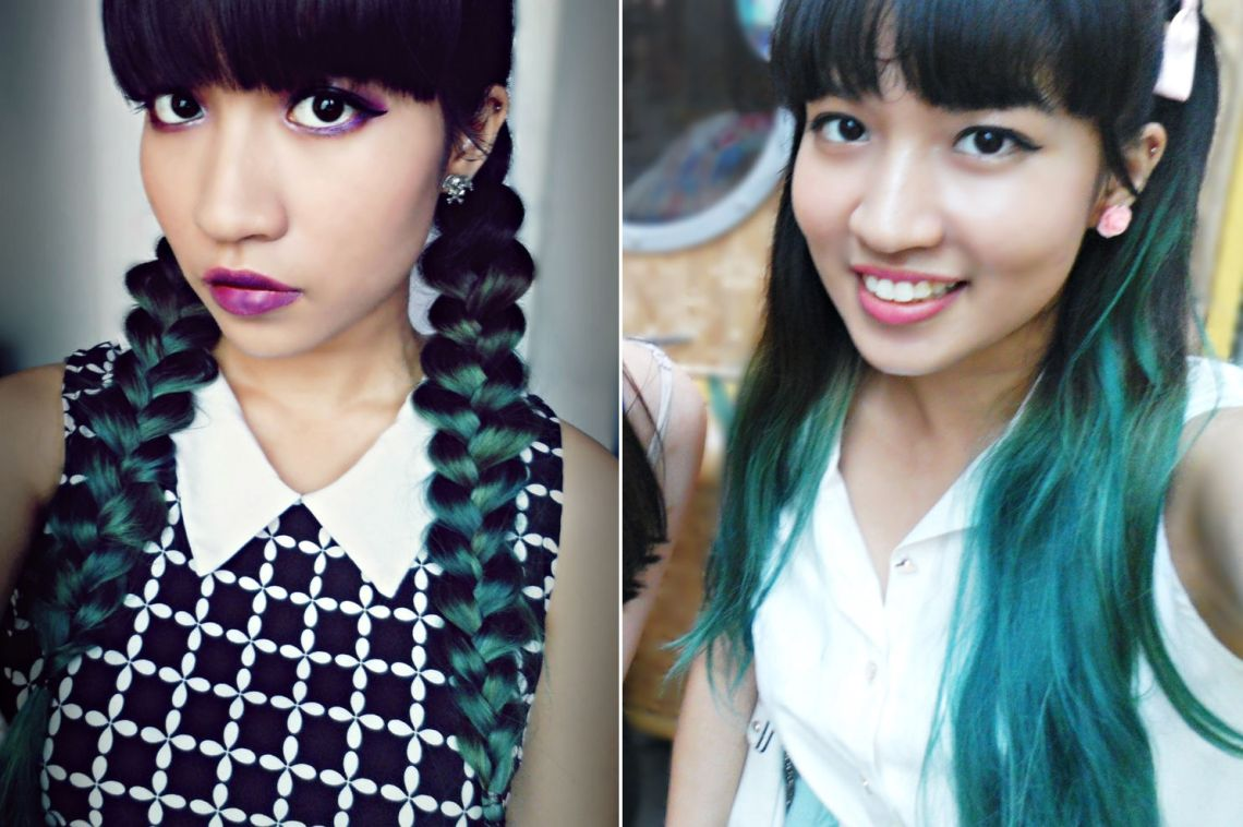 Green turquoise hair