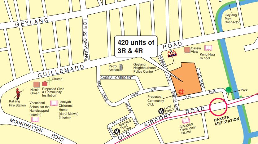Map of Geylang BTO launch for August 2020