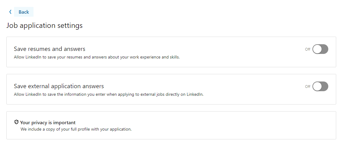 job application page